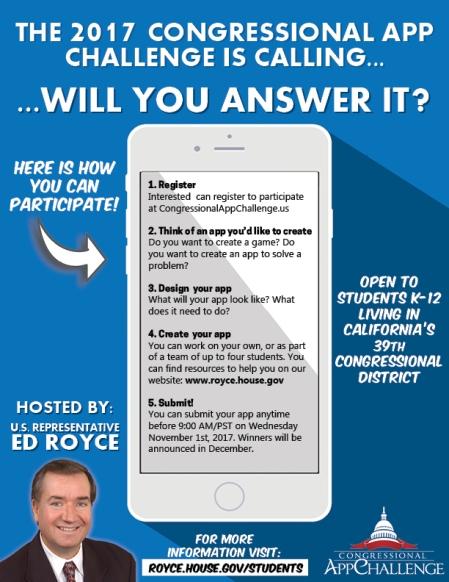 Congressman Royce Announces Congressional App Challenge